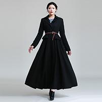 Chaqueta de invierno Turn-Down fino Collar de volante de expansión de la parte inferior el diseño de ropa de lana abrigo largo