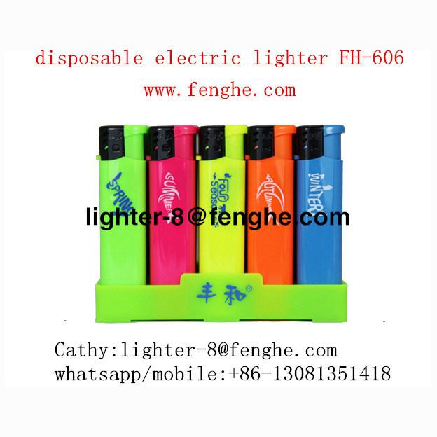Isqueiro plástico colorido com gás butano com logotipo Custom Fh-606rainbow