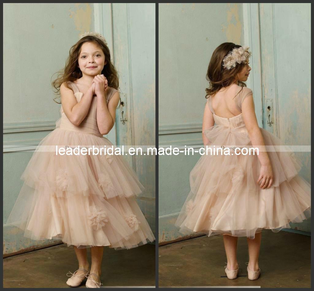 Alineada menor F13128 de la muchacha de flor de la boda del vestido ...