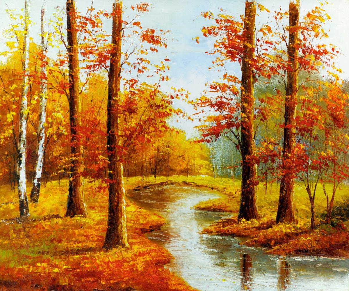 Paysage d'automne de l'huile sur toile peintures pour la décoration de l'hôtel photo sur fr.Made ...