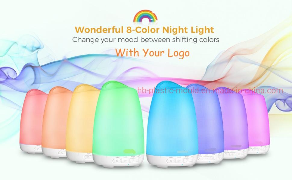Difusores de Aceites Esenciales Aromaterapia Humidificador con difusor, Muy Color de 8 luces de la noche, hasta las 9h, modo de reposo, Waterless Auto-apagado, sin BPA.