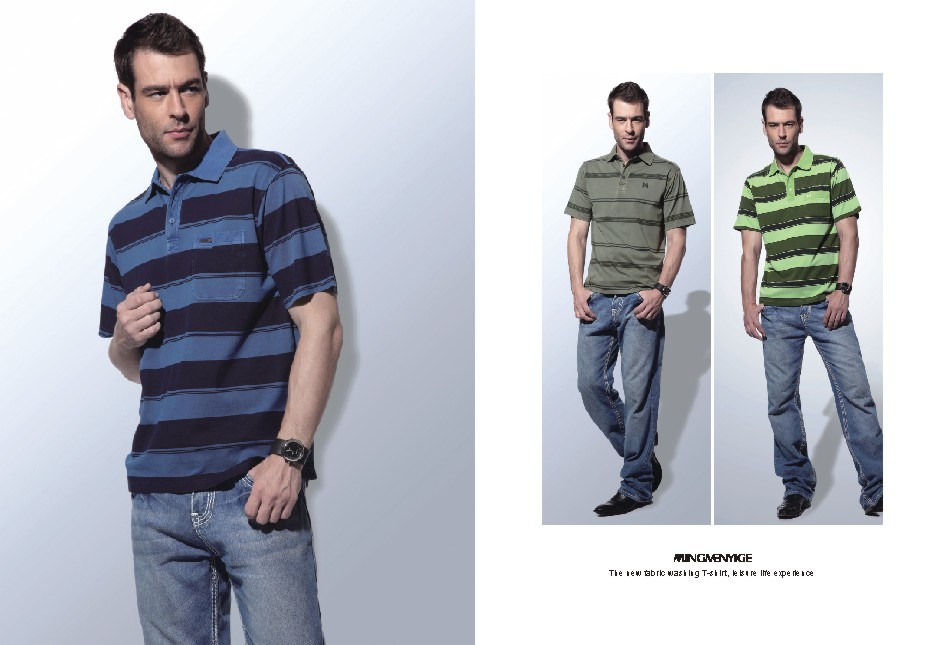 綿ビジネス余暇のMen&acutesの100%年のTシャツ(04)