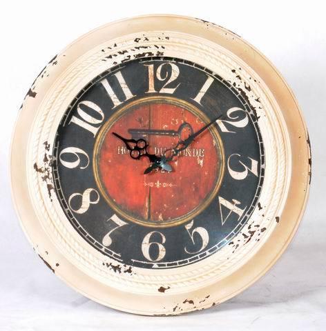 Tour de la crème et noir en Métal Décoration Horloges murales Art