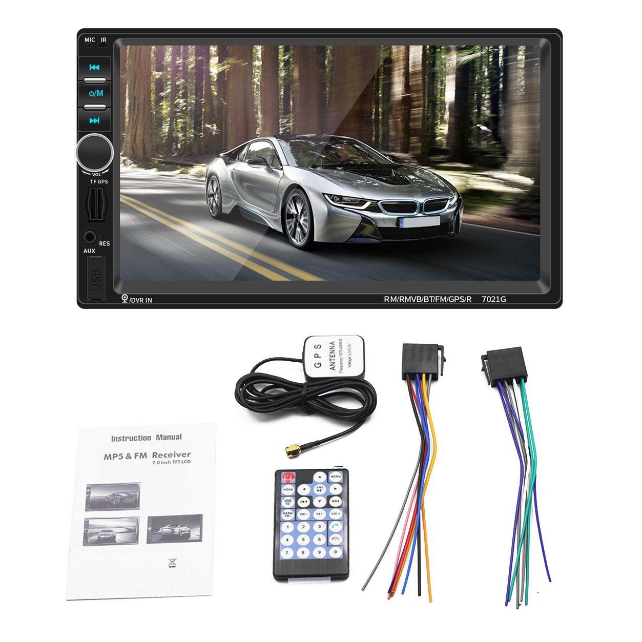 2 DIN de 7 pulgadas de pantalla HD de FM del coche Reproductor multimedia de Navegación GPS Pantalla táctil de reproductor de MP5 Player Kit de coche