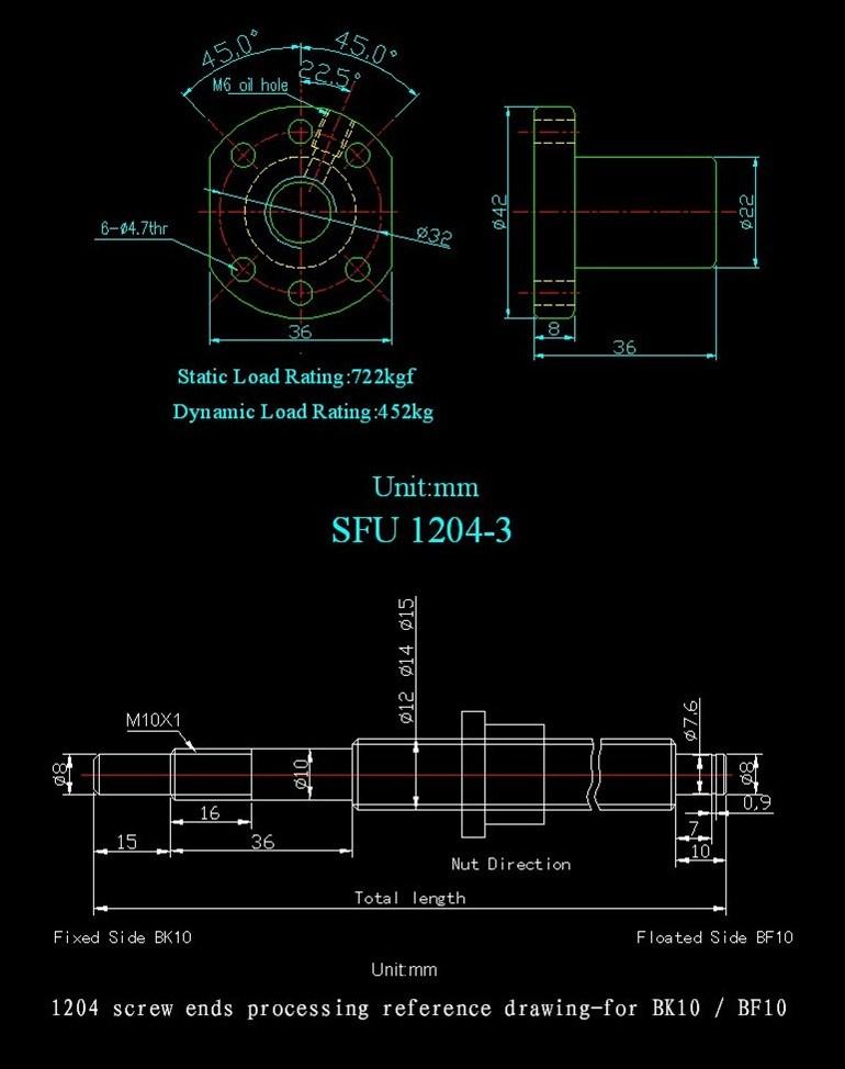 강철 공 나사를 품는 Sfu1204의 고품질