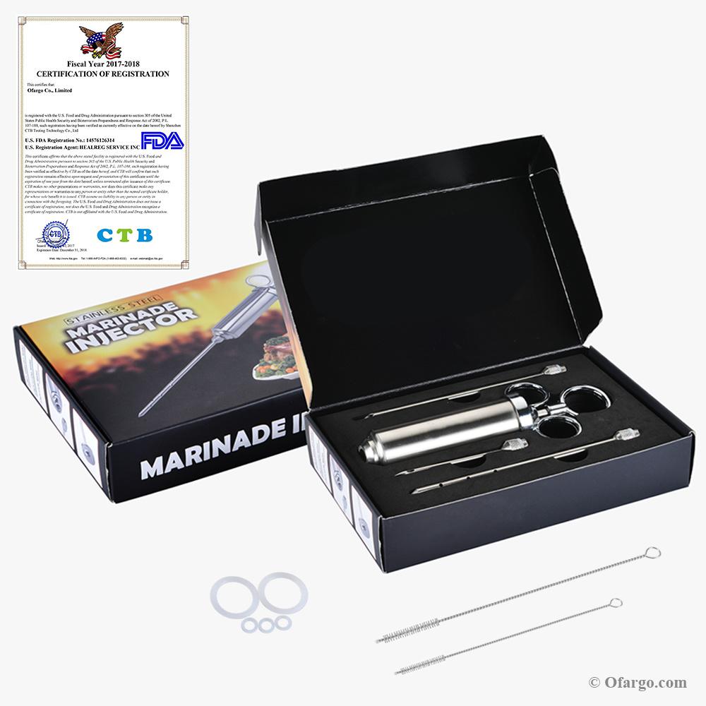 Heavy Duty viande assaisonnement injecteur 2-oz Marinade saveur Injecteur Kit Aiguilles