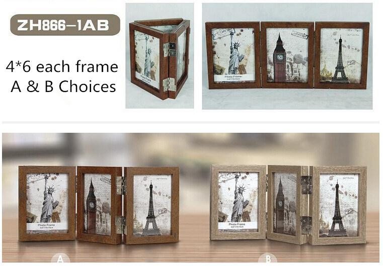 Nuevo Tres plegable de madera de roble Marcos fotográficos – Nuevo ...