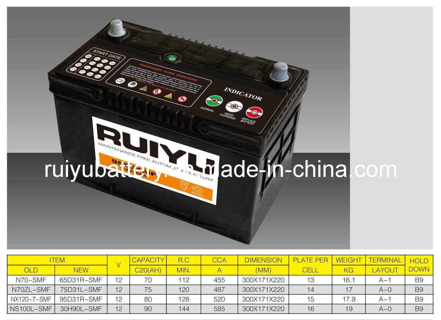 12V80AH JIS Nx120-7 de l'entretien de la batterie de voiture gratuit