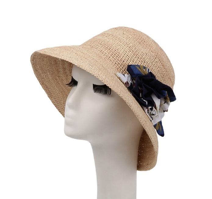 Sombrero de rafia Gran playa del borde de la Mujer