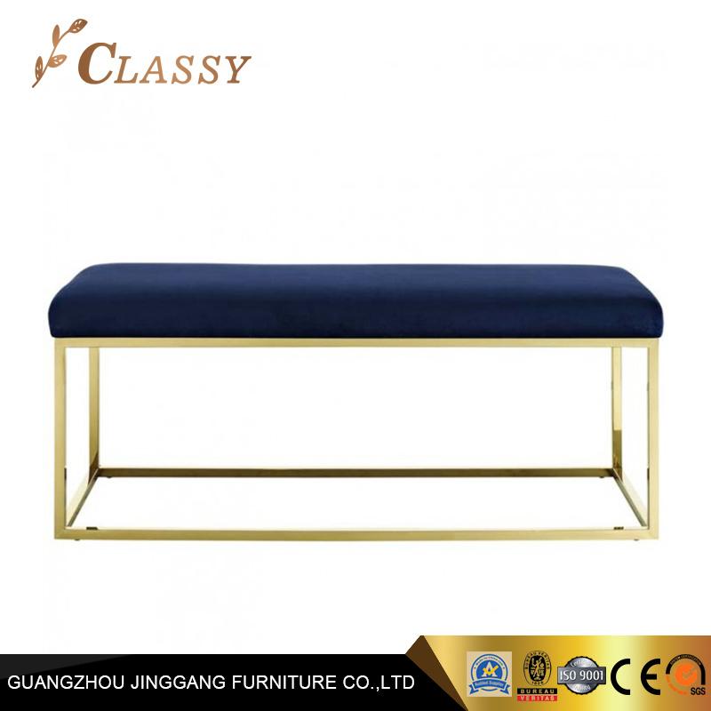 Un Design Simple Moderne En Velours Bleu Banc Pour Mobilier De