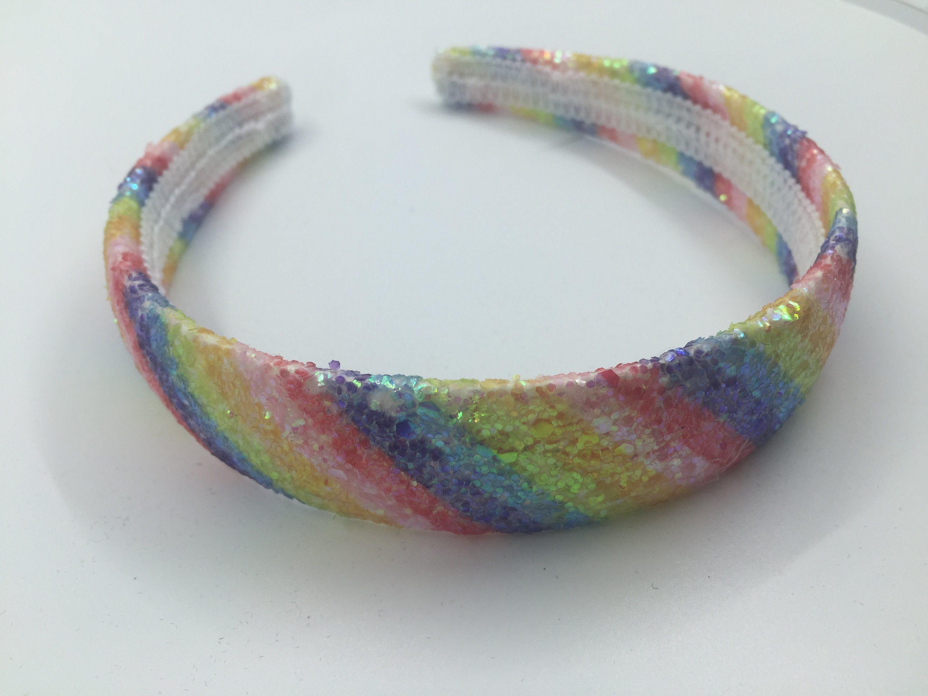 Nueva llegada de la moda Accesorios de Cabello Glitter de banda de sujeción del arco iris