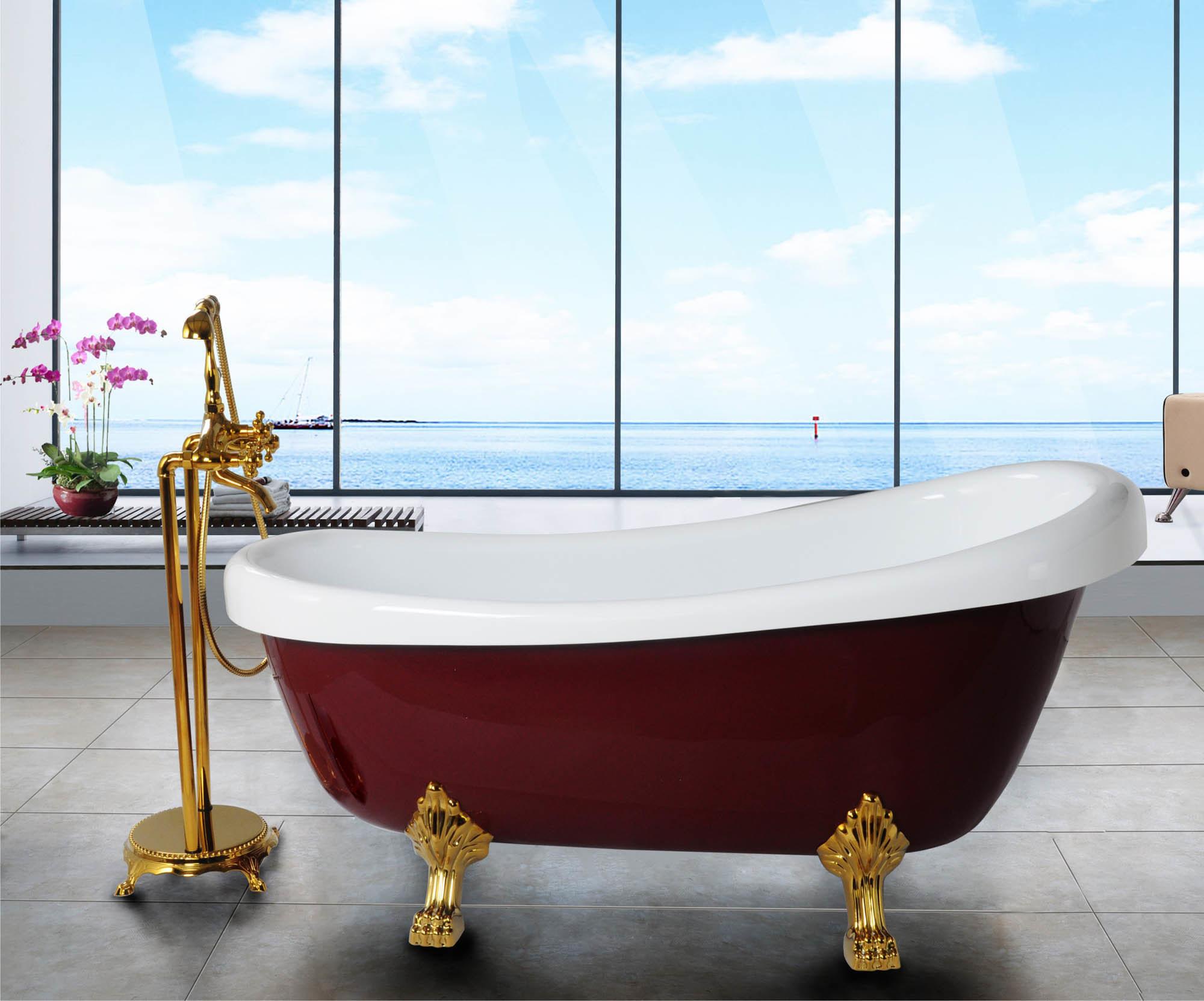 Vasca Da Bagno Rossa : La vasca da bagno acrilica reale rossa con i piedini bf
