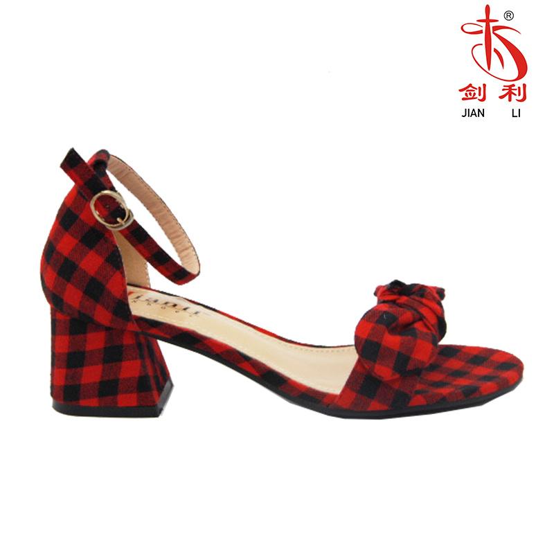 Foto De Lattice Bowknot Moda 2018 Mujer Sandalias Zapatos De Tacón Bajo Hsa31 En Es Made In China Com