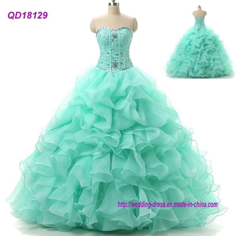 914d6fad3 Balón largo vestido de verde 2018 vestidos de Quinceanera Halter Bodice  vestido de Prom.