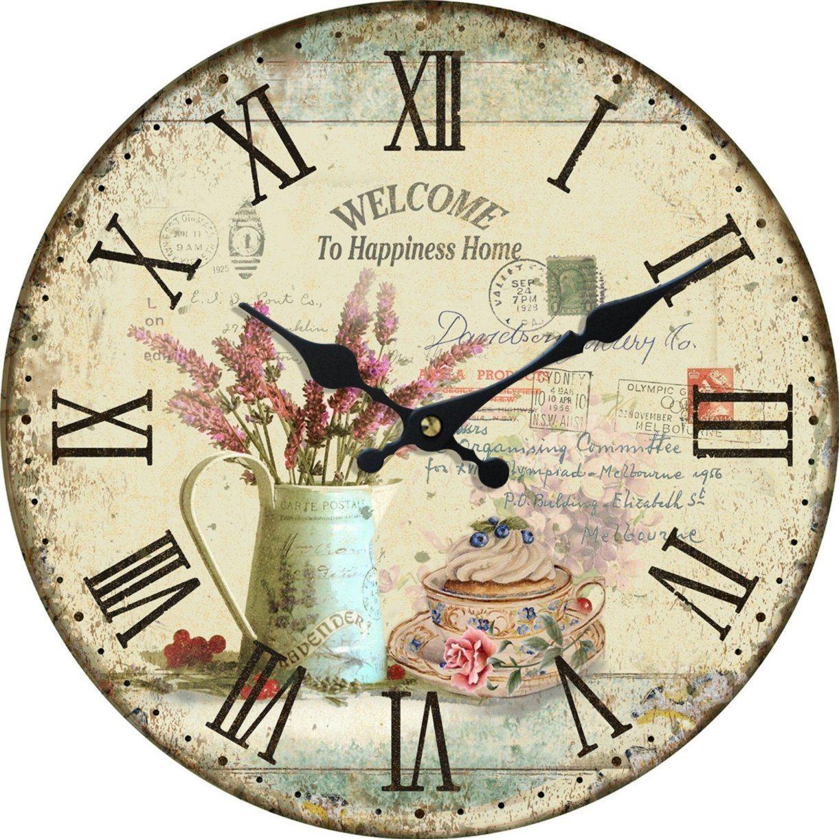 Vintage /MDF Antiguo reloj de pared con diseños de flores – Vintage ...