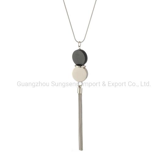 Acessórios de moda, Preto e Prata Pingentes de metal redonda e cadeia de Cobre Colares, perfeita com o seu vestuário