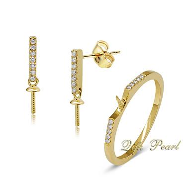18k Gold Pearl jóias de fixação do conjunto