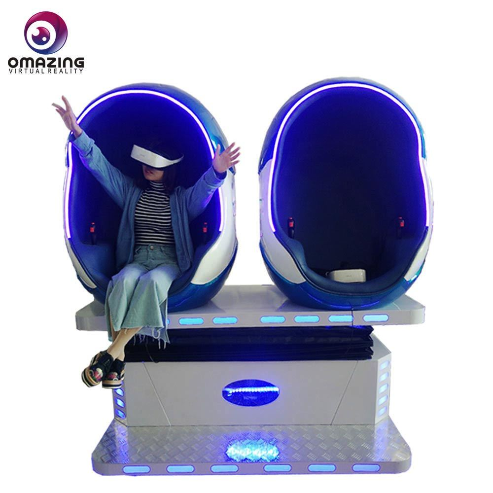 9D VR 360 Cinéma Simulateur de vol, 1D/2D/3D VR Motion chaise avec double forme d'oeufs de joueurs pour l'Amusement Park