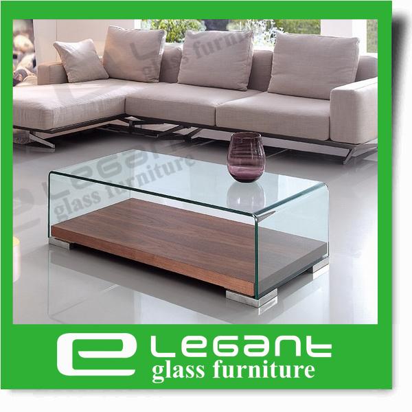 Quadrado simples tabela Center de vidro curvada com espelho
