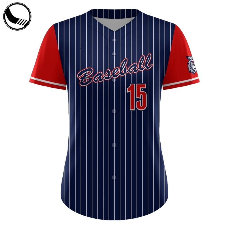 Oversized Sports Wear Full Button Youth Pinstripe Baseball Jersey Wholesale
