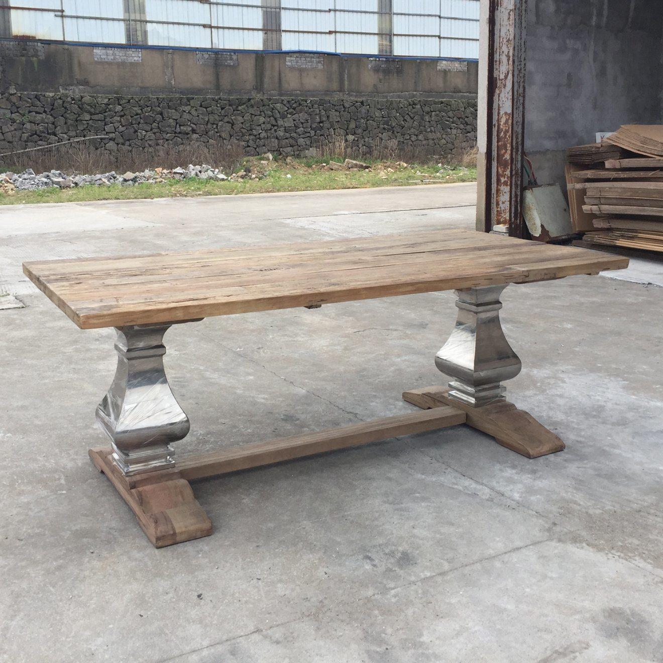 Foto de Rescatado de Madera de Olmo reciclado Acero Inoxidable mesa ...