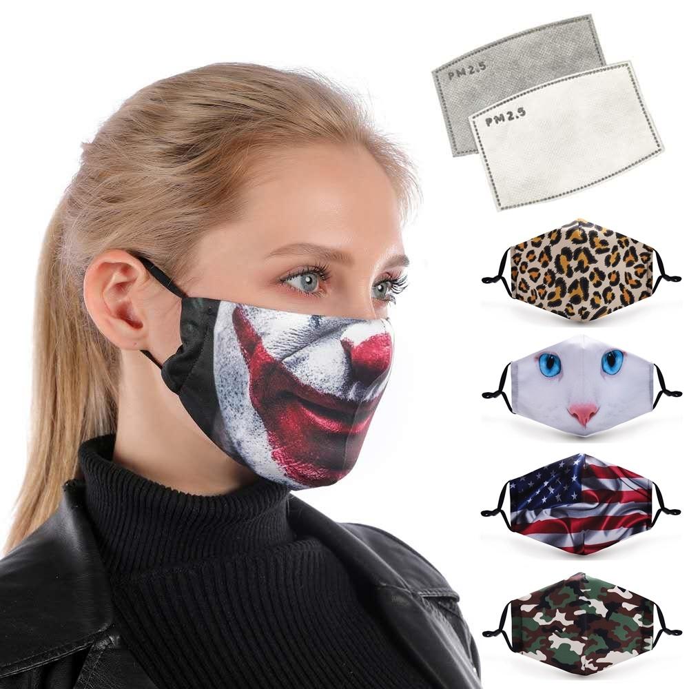 再使用可能な洗濯できるカスタムロゴの塵ポリエステル汚染の処分の黒の口デザイン塵のマストの反塵の綿布のスポーツの大人は子供の盾のマスクをからかう