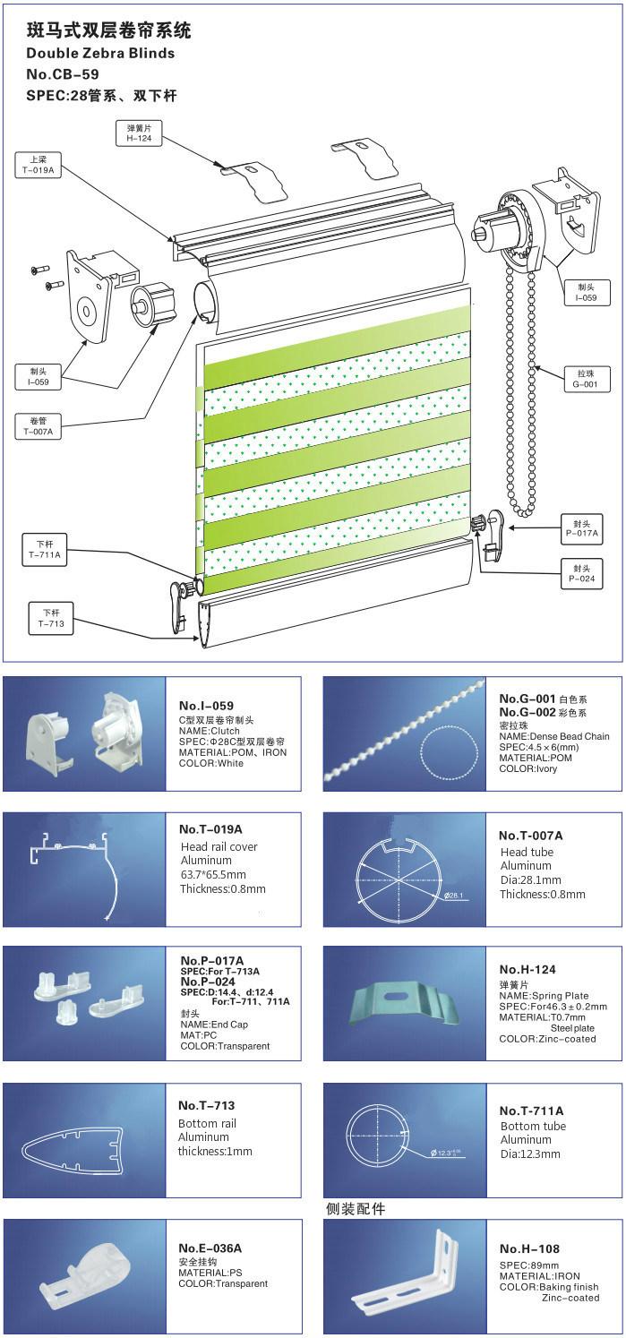 A Zebra persianas componentes acessórios Estores Combi