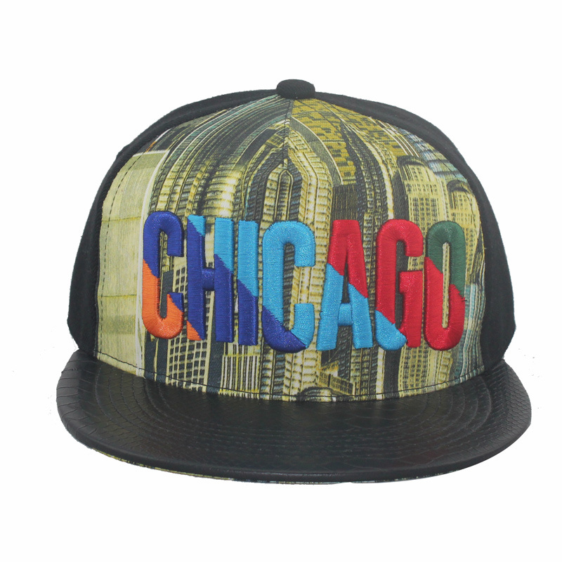 Modo Sublimation Printing Embroidery Snapback Hat con il bordo di Leather (GK15-L0002)