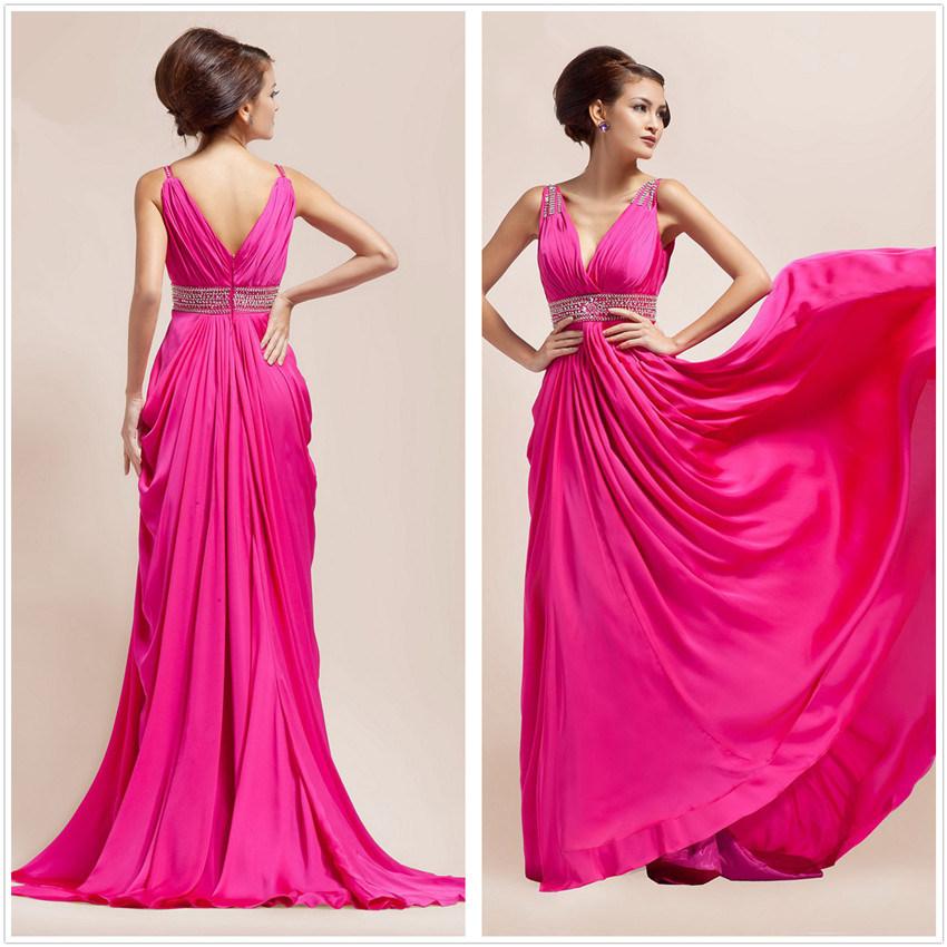 Elegante con cuello en V vestido de noche biselado (L10333 ...
