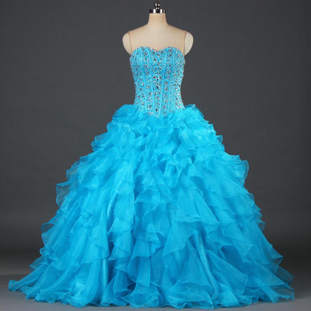 Chine Robe de bal de luxe perlé Organza bleu