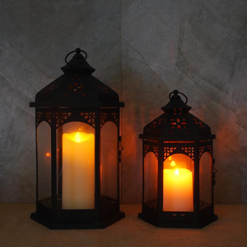 Foto De Lampara Decorativa De Color Negro Con Led De Luz De Velas - Velas-para-exterior