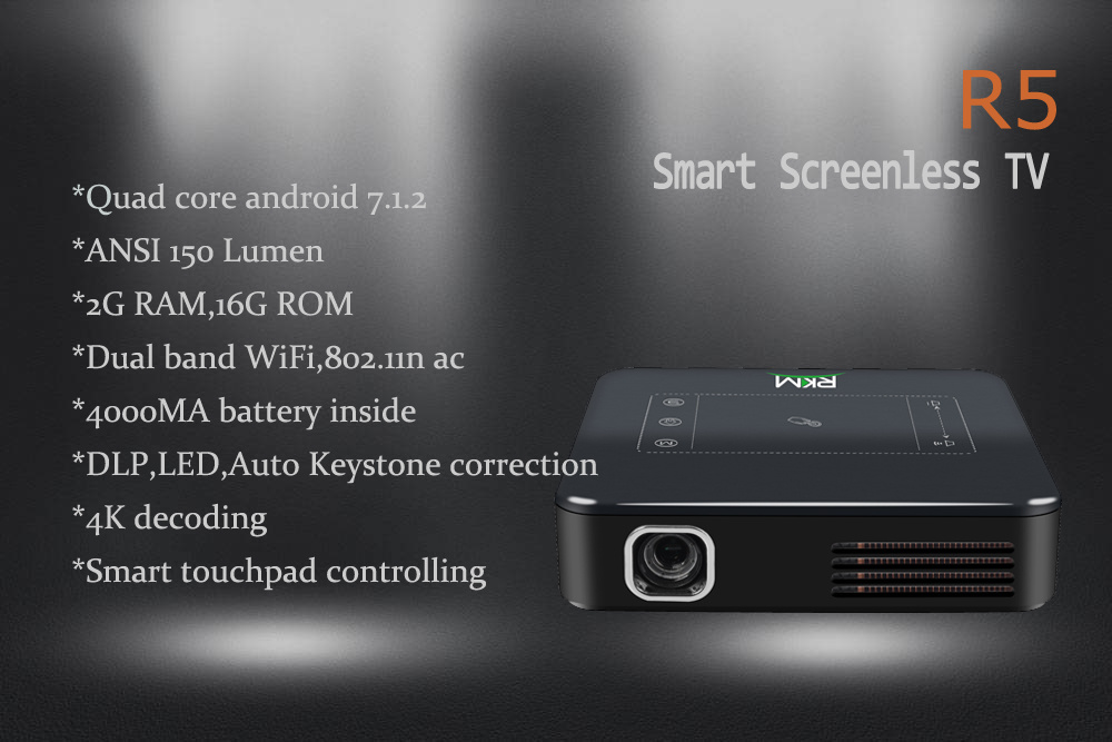 LED Projector inteligente com o Android 7.1.2 Pico-Projectors SO