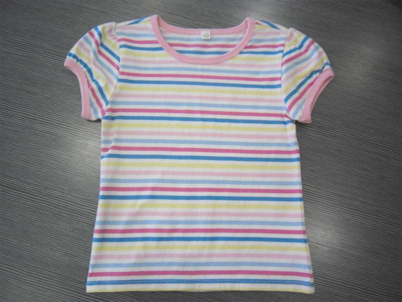 Col rond Stripe 100% Coton T-shirts à manches courtes pour les enfants