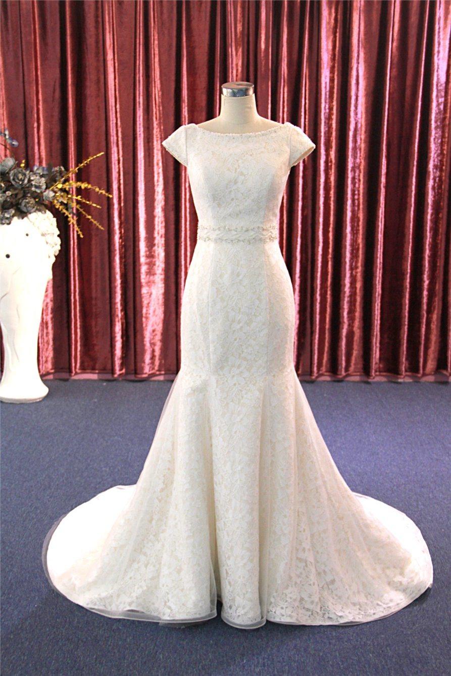 결혼 예복 정장 드레스를 구슬로 장식해 형식 레이스 인어