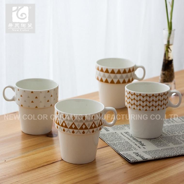 본 차이나 새로운 인쇄된 커피 및 차 찻잔 쌓을수 있는 세라믹 찻잔