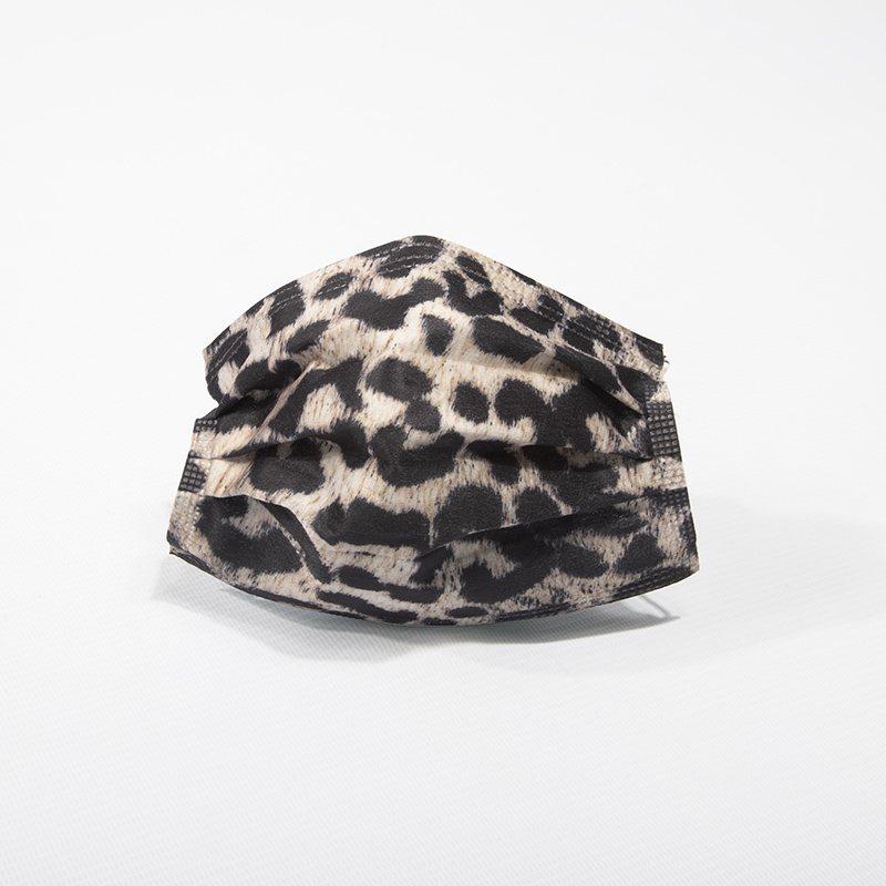 3 Camadas em Spunlace Fashion Leopard Imprimir máscara descartável