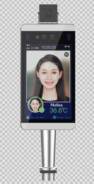 Sistema de medición de temperatura del cuerpo de reconocimiento facial con AI tiempo asistencia con el control de acceso