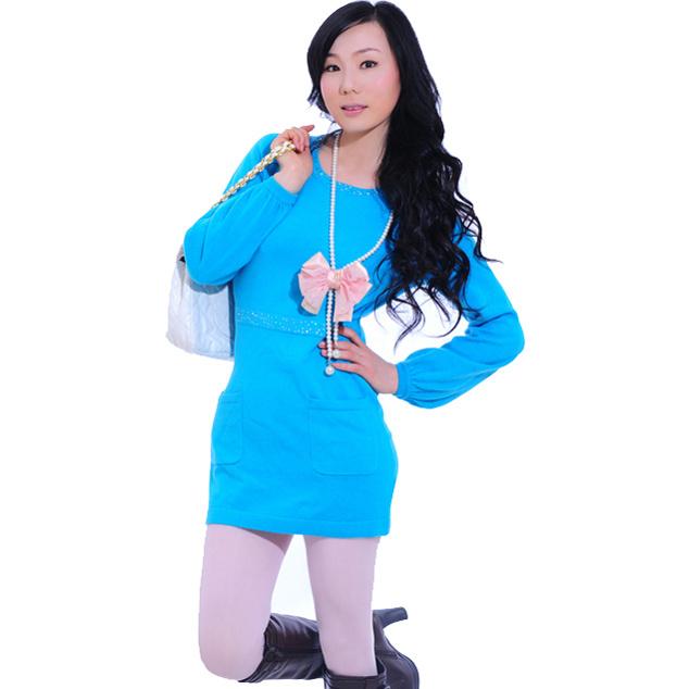 Les femmes MIDI bleu pullover à manches longues