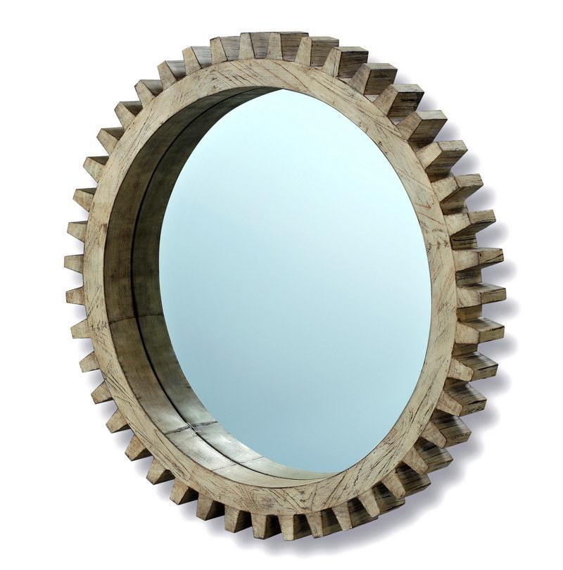Forma de engranaje de madera maciza Marco Espejo Espejo de pared ...