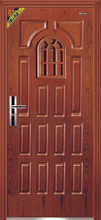 Puertas de entrada del metal de la pel cula del pvc for Puertas de metal con vidrio