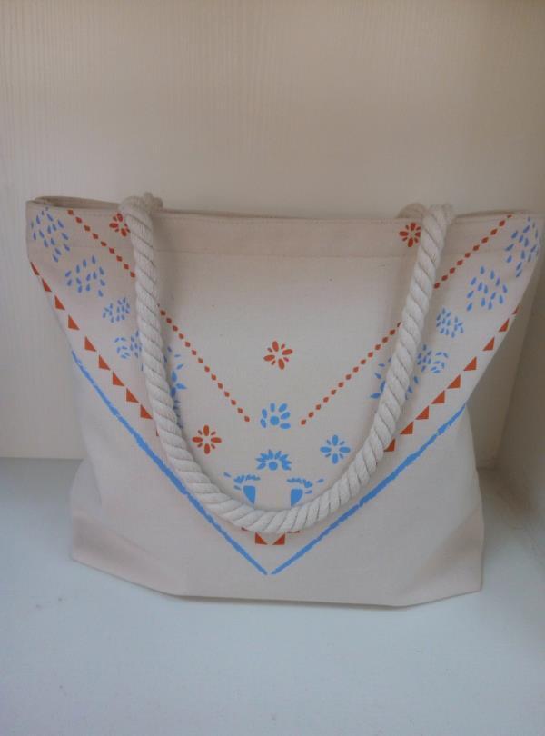 Toile sac fourre-tout, un sac de shopping, sac à main avec poignée corde