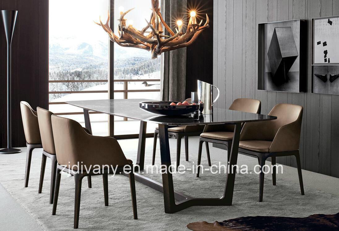 Fauteuil en cuir italien moderne en bois tissu chaise de ...
