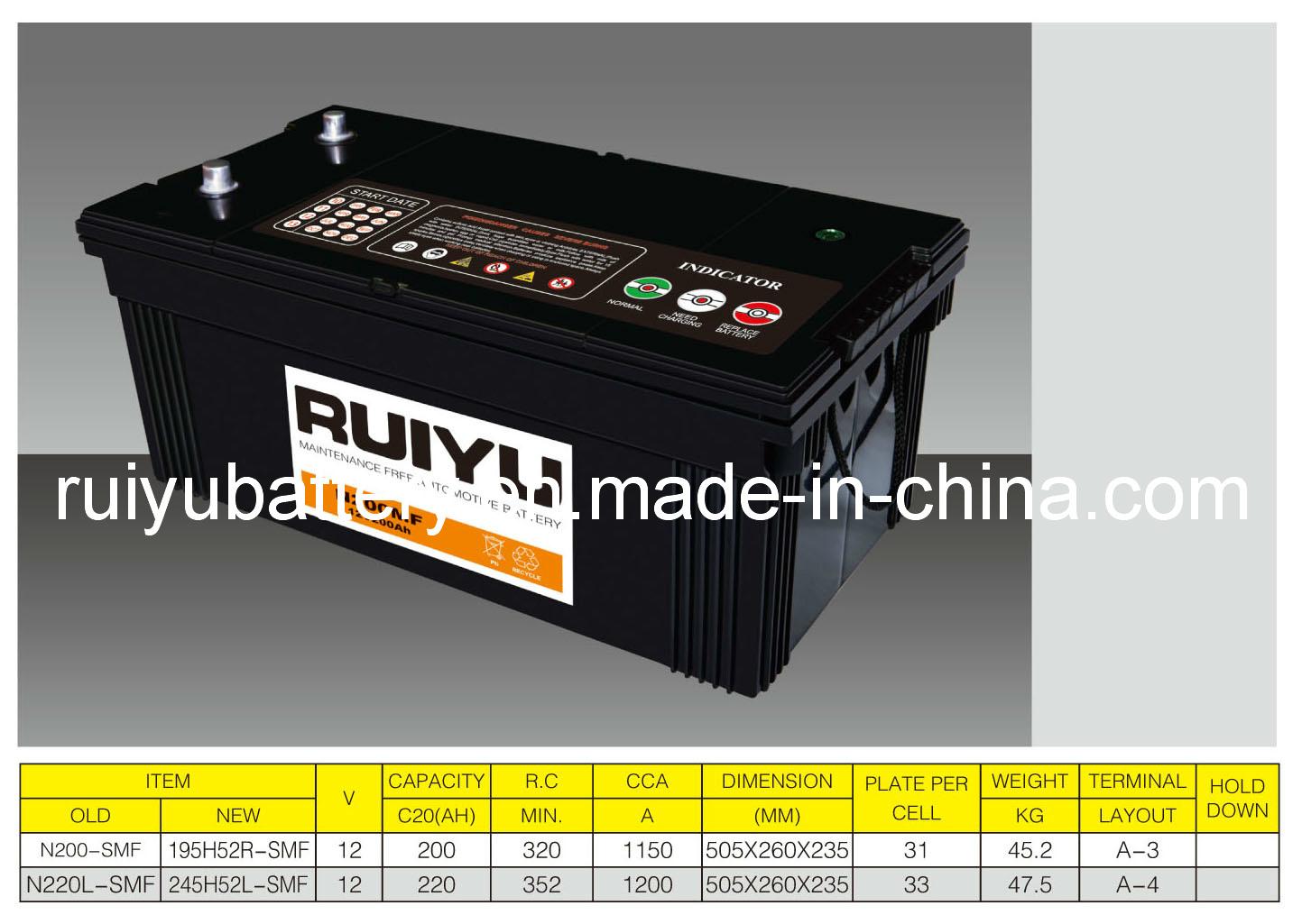 12V200ah JIS-N200 Batterie de voiture de batterie automatique