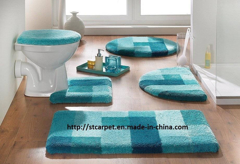 Ensemble chaud du tapis de bain de microfiber 5pcs for Tapis salle de bain microfibre