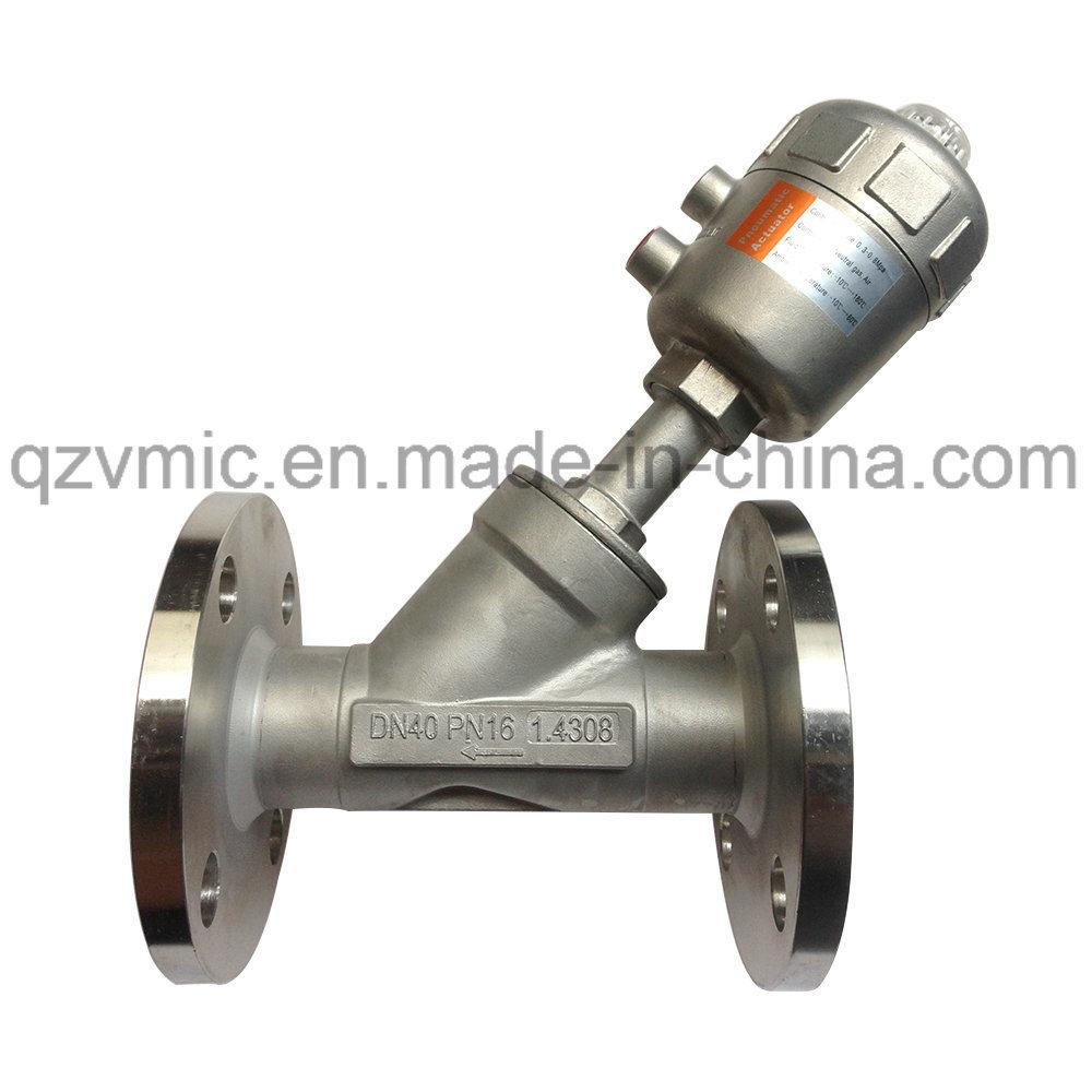Embase DIN PN16/JIS 10K Angle pneumatique du siège de soupape de commande du piston de soupape de vapeur d'extrémité à bride
