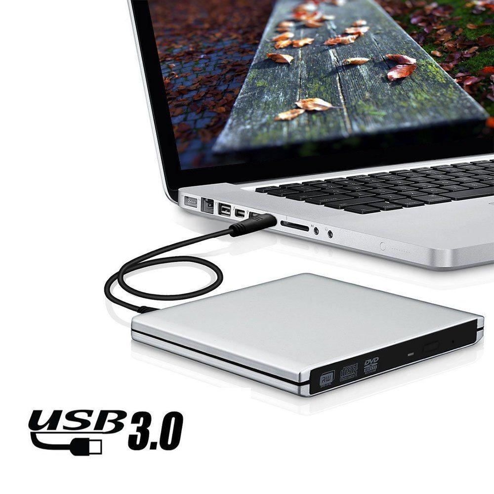 USB3.0 giocatore del bruciatore dell'azionamento CD di External DVD per il mackintosh/Laptop/PC (argento)