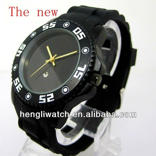 Hot Fashion Silicone Watch, la meilleure qualité Black Watch 15050