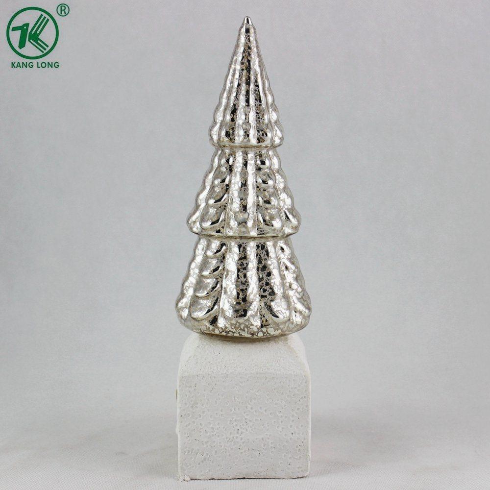 Decorazione dell'albero di Natale di vetro placcato dell'oro con la base bianca del gesso