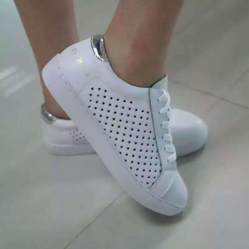 Weiß bereift Lace-up Art-Form-Breathable Plattform-Frauen-Schuhe (AKCS1)