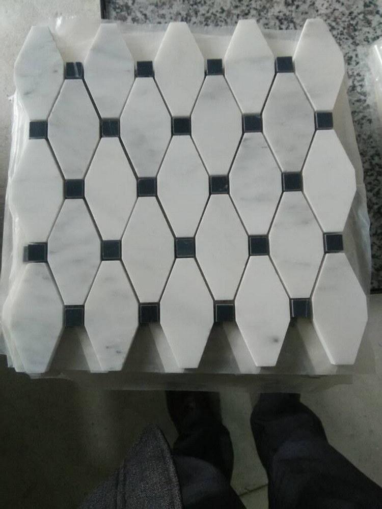 Largo de mármol de Carrara Bianco Octagon Mosaico y azulejo